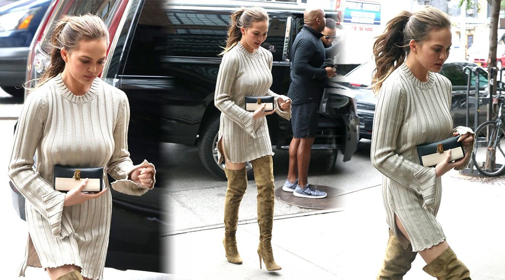 Chrissy Teigen - Braless Candids in New York