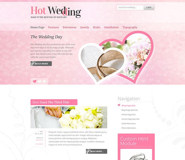 Joomla Wedding Template - Hot Wedding - HotThemes - wedding template
