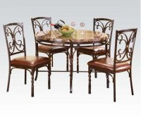Dark Brown Modern Traditional Style Dining Table 5pc Set ...