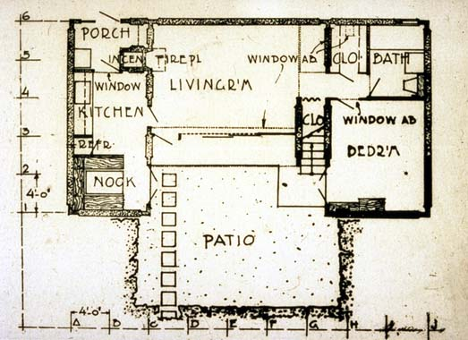 plan of one unit, Pueblo Ribera Court R Schindler, 1923 Archi - Design Of Retaining Walls Examples