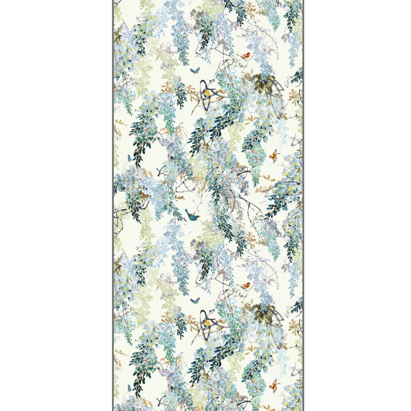 Sanderson Wisteria Falls Wallpaper Wisteria Falls Wallpaper Aqua Panel B 216299
