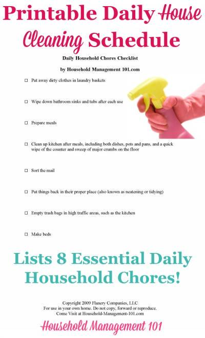 Daily House Cleaning Schedule 8 Essential Daily Household Chores