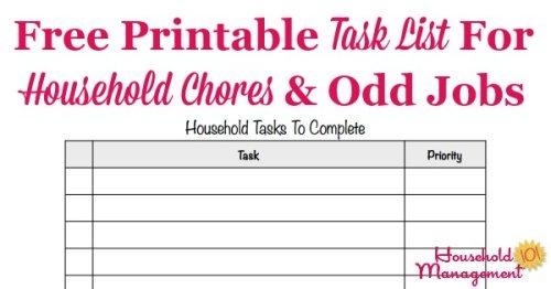 Printable Task List Template Master List Of Household Chores  Odd Jobs - printable list template