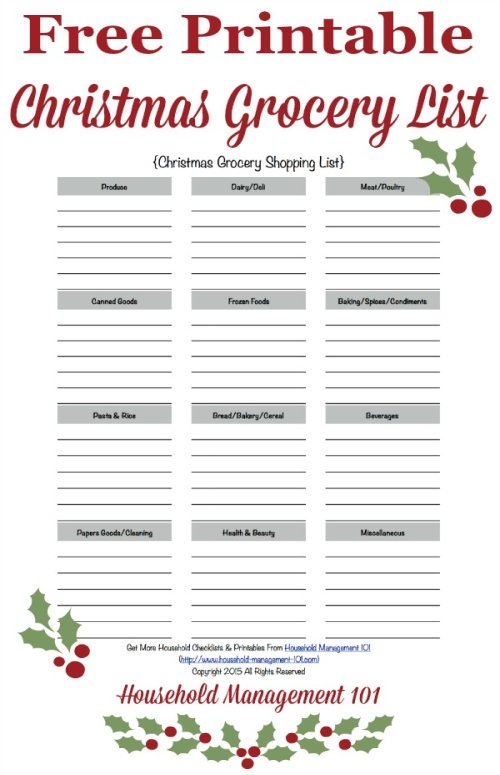 Free Grocery Shopping List Template  Printable Dot Paper with four - free printable grocery shopping list template