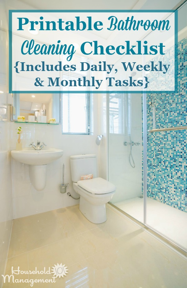 Bathroom Cleaning Checklist - List For Cleaning The Bathroom Daily