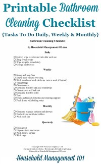 Bathroom Cleaning Checklist - List For Cleaning The ...