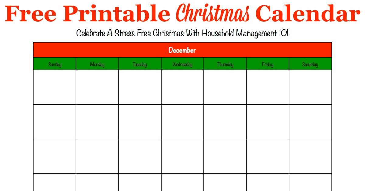 Printable Christmas Calendar For December