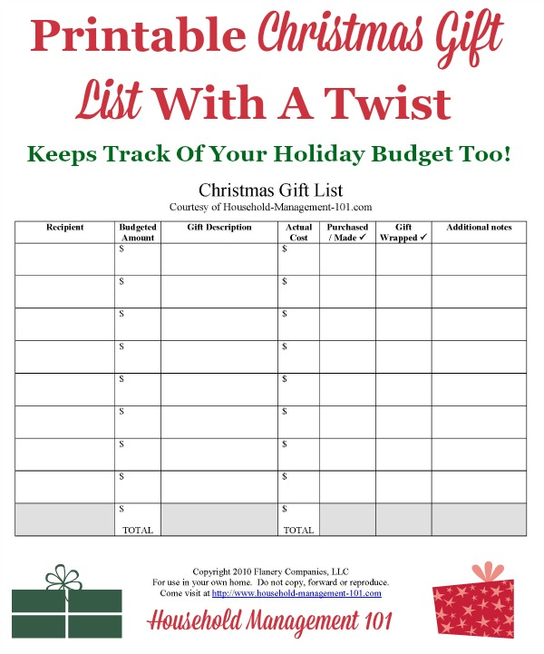 Christmas Gift List Printable Use It To Help Create Your Christmas