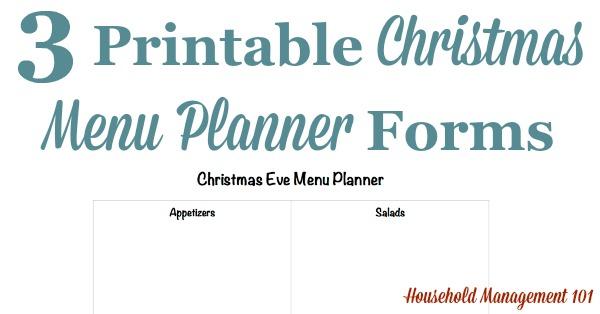 Printable Christmas Menu Planner Forms