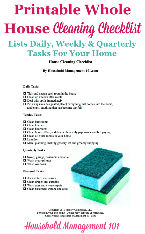 weekly cleaning lists