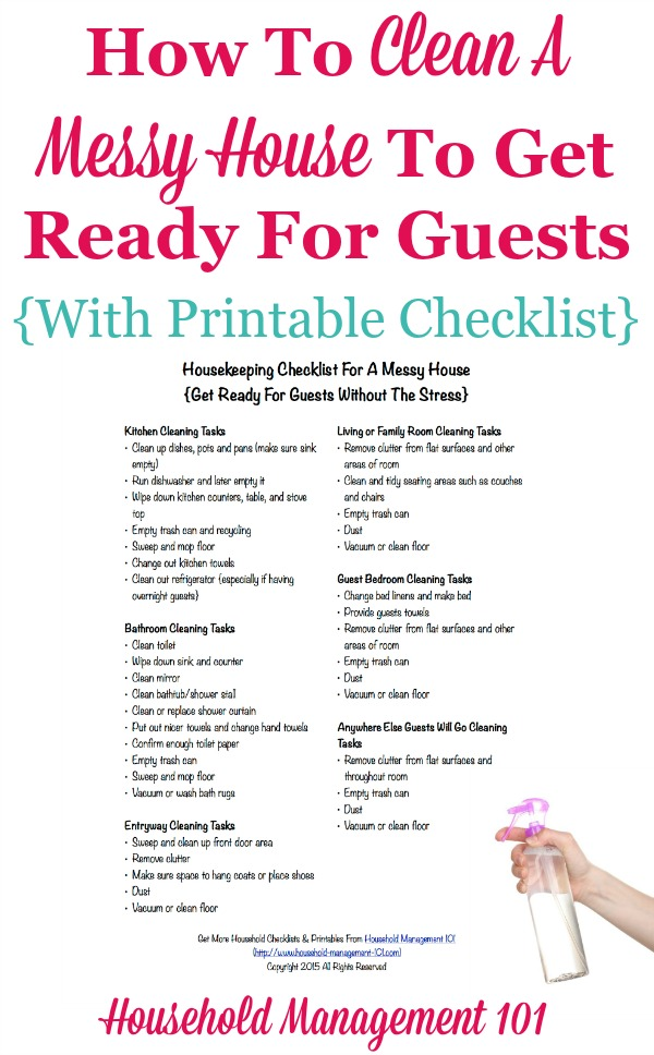 Housekeeping Checklist For A Messy House Get Ready For Guests - housekeeper cleaning checklist