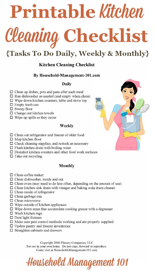 Kitchen Cleaning Checklist - Daily, Weekly And Monthly Chores + - weekly checklist