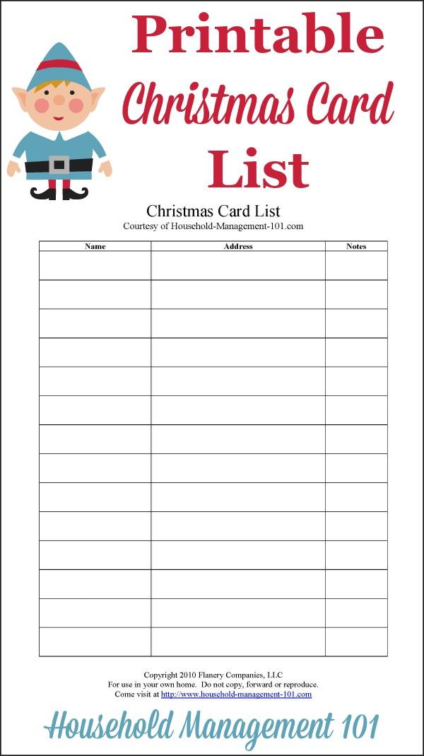 Christmas Card List Printable Plan Who You\u0027ll Send Cards To This Year