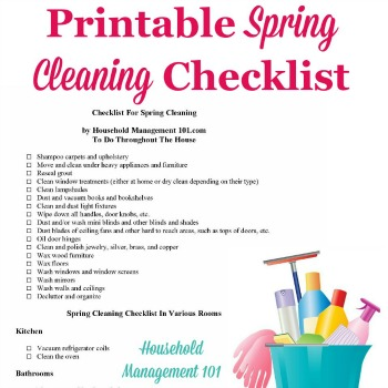 Top Ten Spring Cleaning Safety Tips - Sample Spring Cleaning Checklist