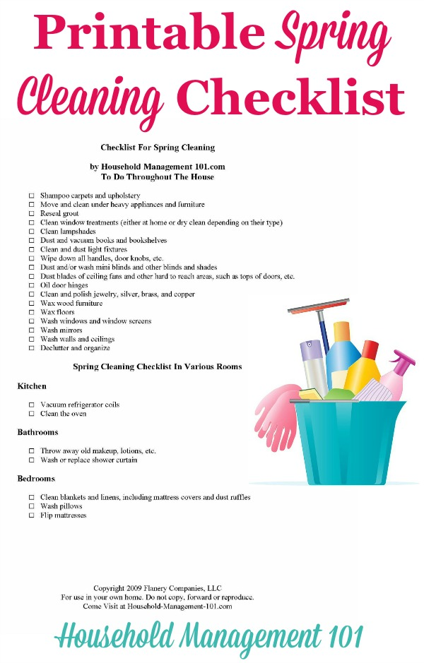 Spring Cleaning Checklist For Your Home {With Free Printable} - spring cleaning checklist