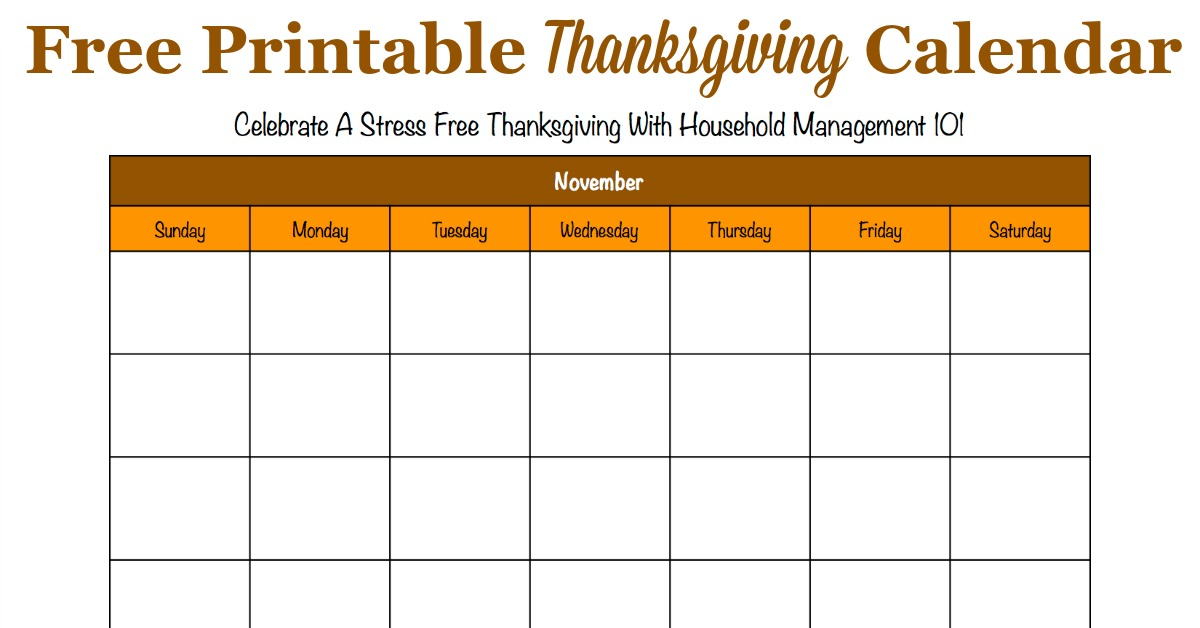 Printable Thanksgiving Calendar For November