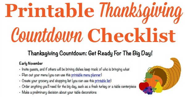 Thanksgiving Countdown Plan For A Great Day {Includes Free Printable}