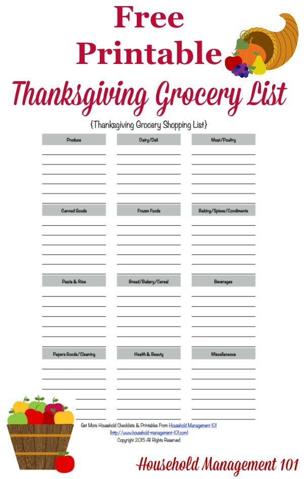 Printable Thanksgiving Grocery List  Shopping List - free printable shopping list template