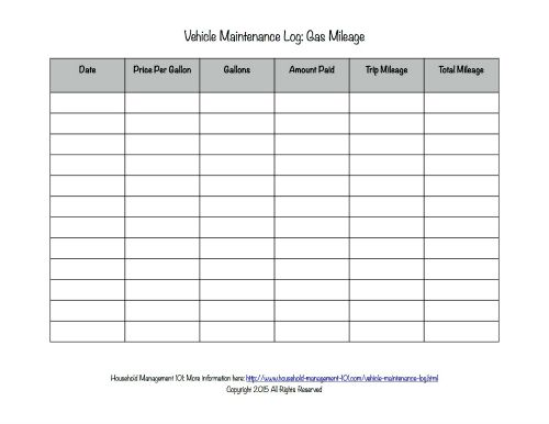 Free Printable Vehicle Maintenance Log Why You Should Have One In