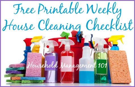 Printable Weekly Checklist For House Cleaning And Other Weekly Chores - weekly checklist