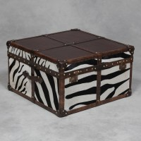 """Square Antique Leather and """"Zebra"""" Hide Coffee Table Trunk ..."""