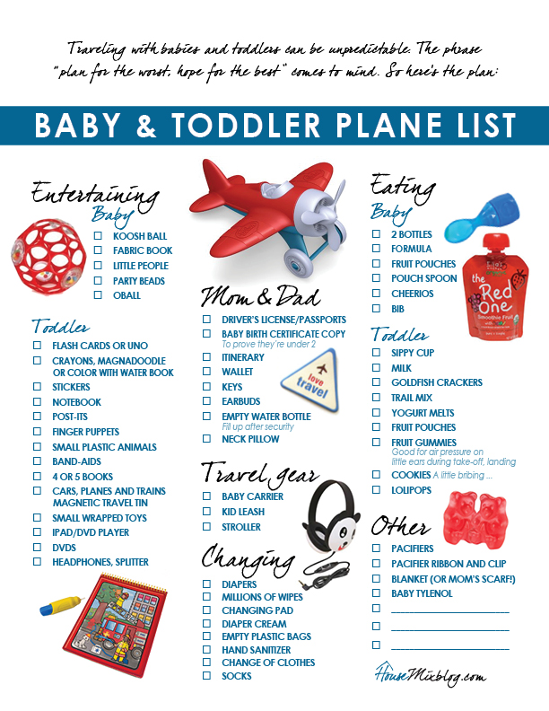 Travel part 6 Plane pack list for toddler  baby House Mix