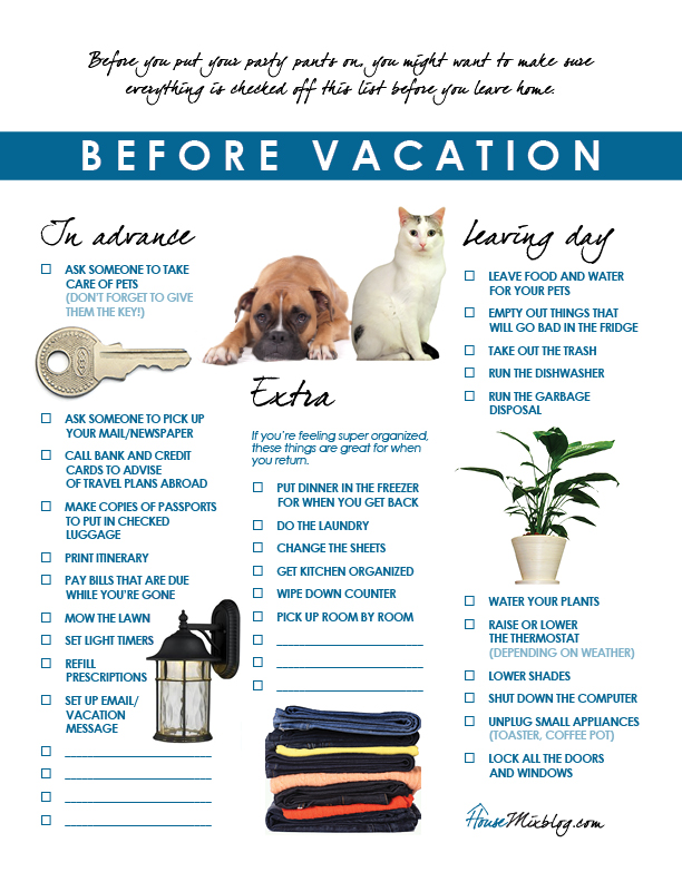 Travel part 1 Before vacation checklist Vacation checklist - sample travel checklist