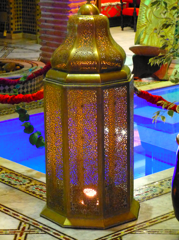 Lantern in riad restaurant in Marrakech