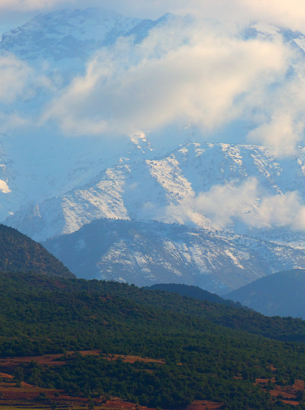 Snow-capped Atlas mountains in Morocco
