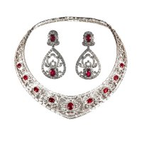 Ruby and Diamond Necklace and Earrings Set - House of Kahn ...