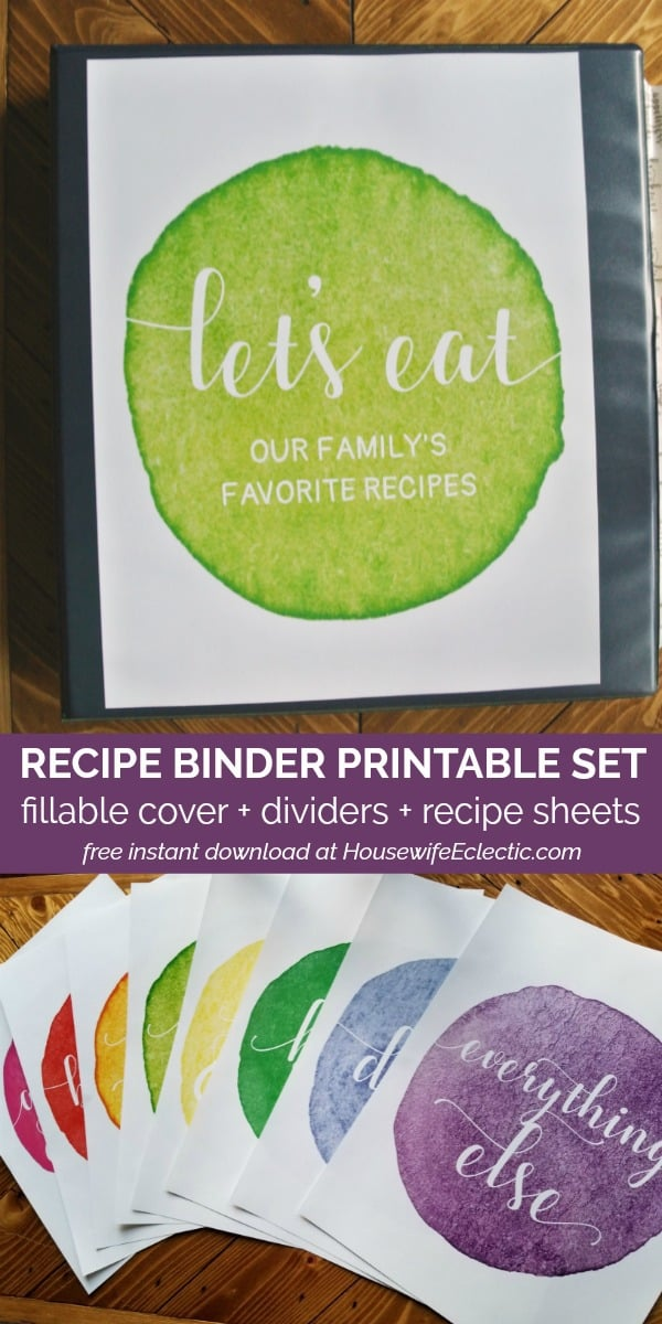 free printable recipe binder set with cover, dividers, and recipe