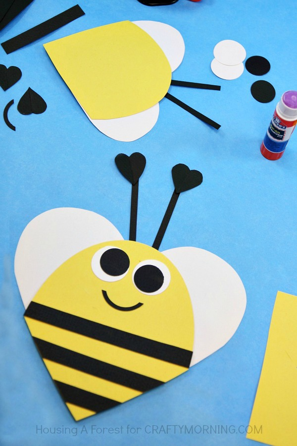 Heart Shaped Valentine Bee Craft for Kids - Crafty Morning - valentine craftf