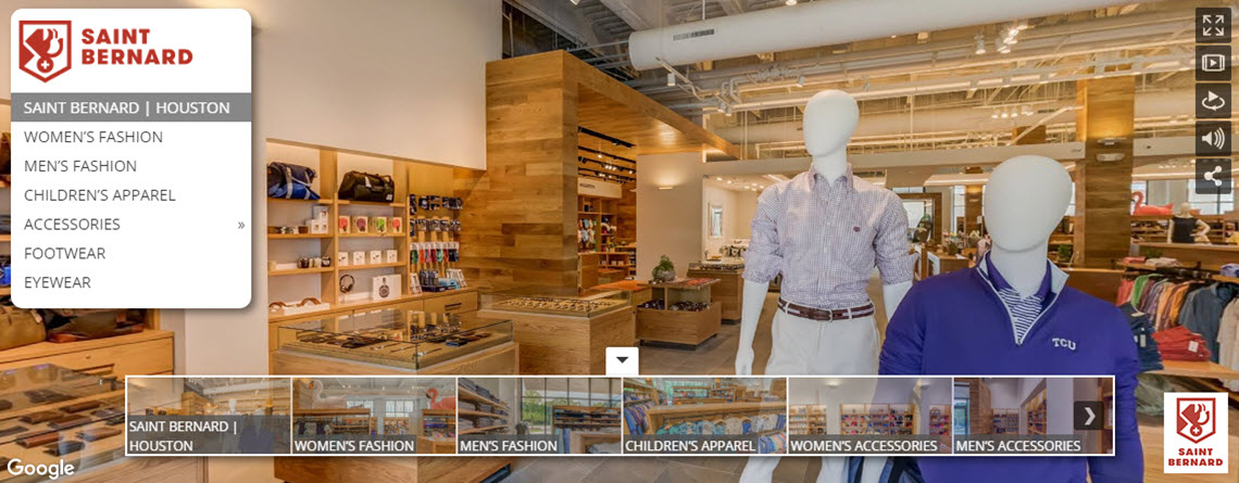 "LUXURY SPORTS APPAREL STORE GETS ""GOOGLED"" WITH 360° VIRTUAL TOUR"