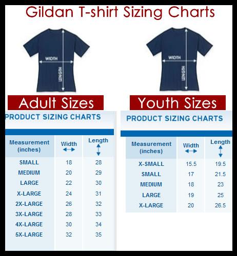Gildan Size Charts