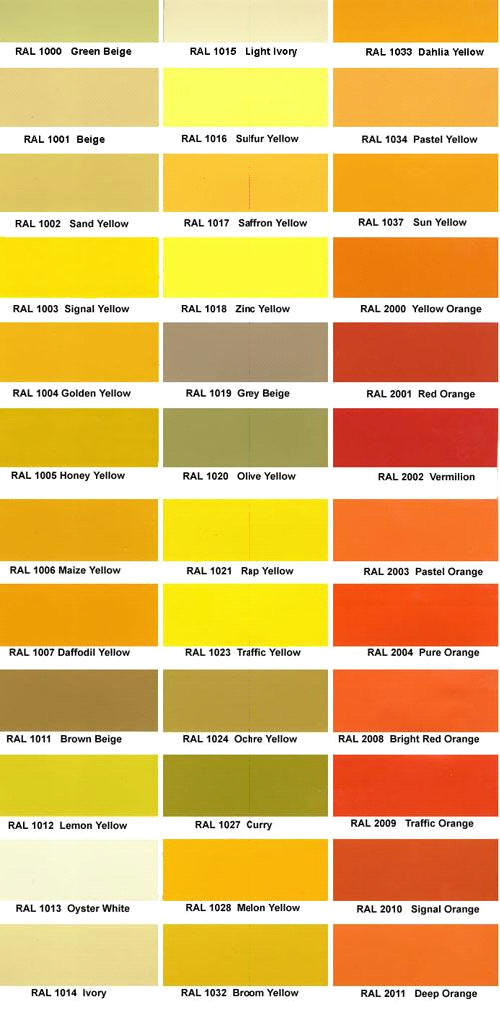 RAL Color Chart / RAL Colour Chart - sample general color chart