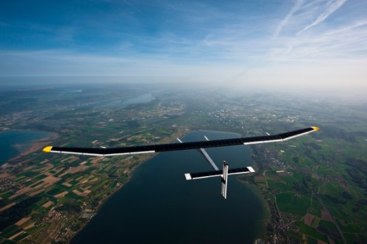 The Solar Impulse: The world's first solar-powered plane designed to circle the globe. (image from http://www.howitworksdaily.com)