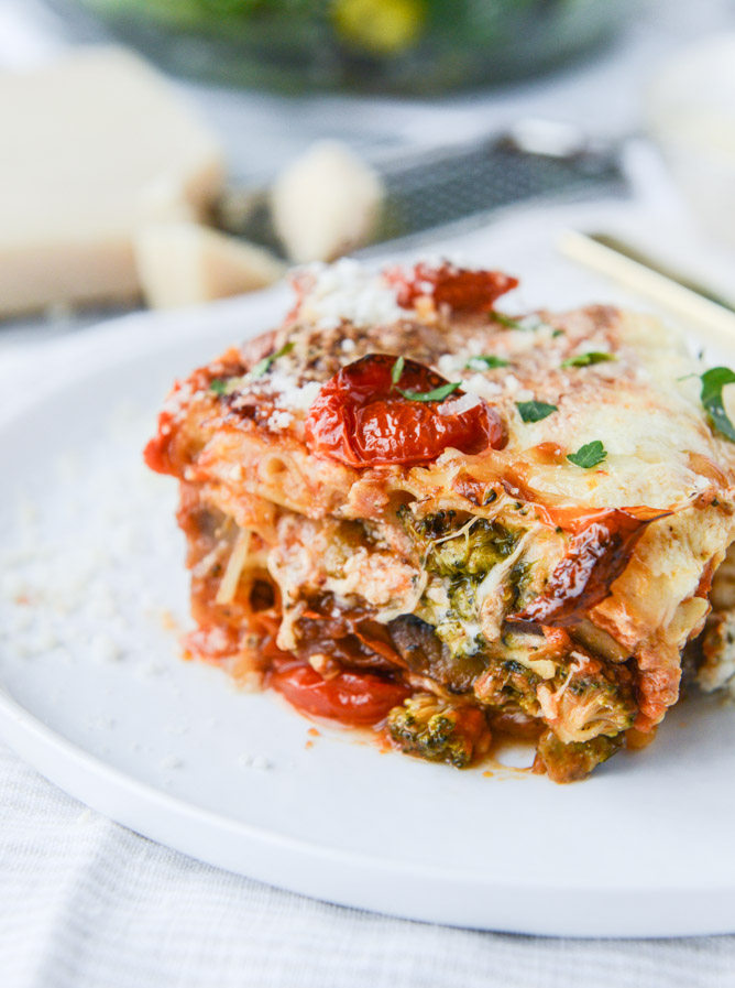 Roasted Vegetable Lasagna With Burrata. | How Sweet It Is