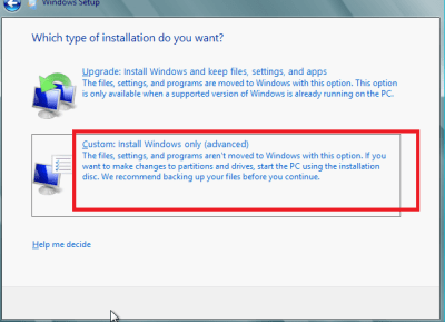 windows 8 custom type install