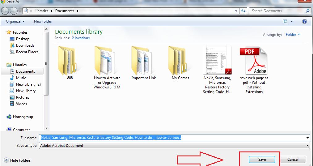 save pdf file in computer