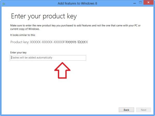 Windows 8 product key insert