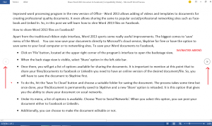 word 2013 read mode screen and arrow keys