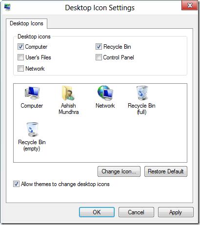 windows 8 desktop icon settings