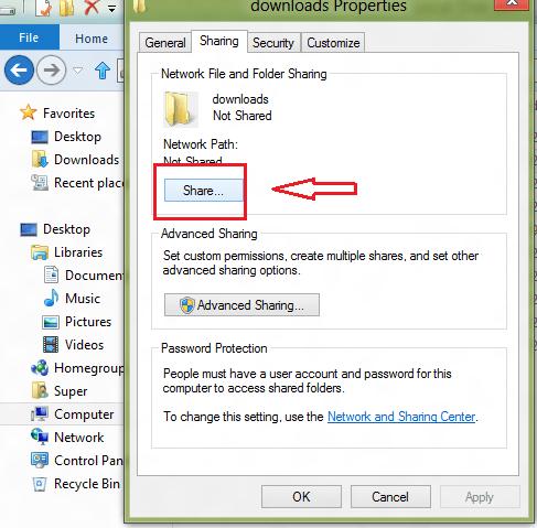 windows 8 folder share button