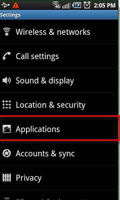 Android applications option