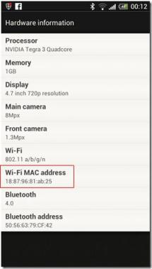 android MAC address find