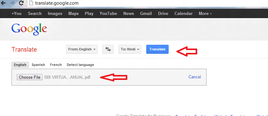 PDF translate online from google