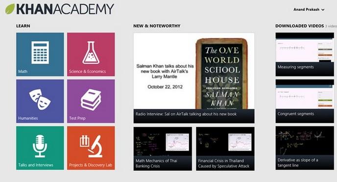 Khan Academy Windows 8 app