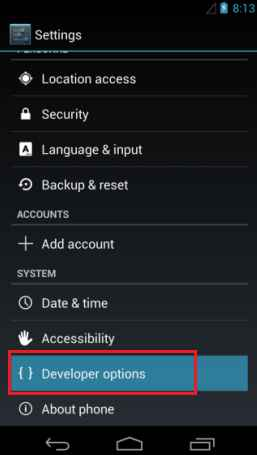 android 4.1.2 developer option