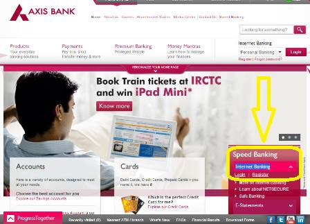 axis bank netbanking website