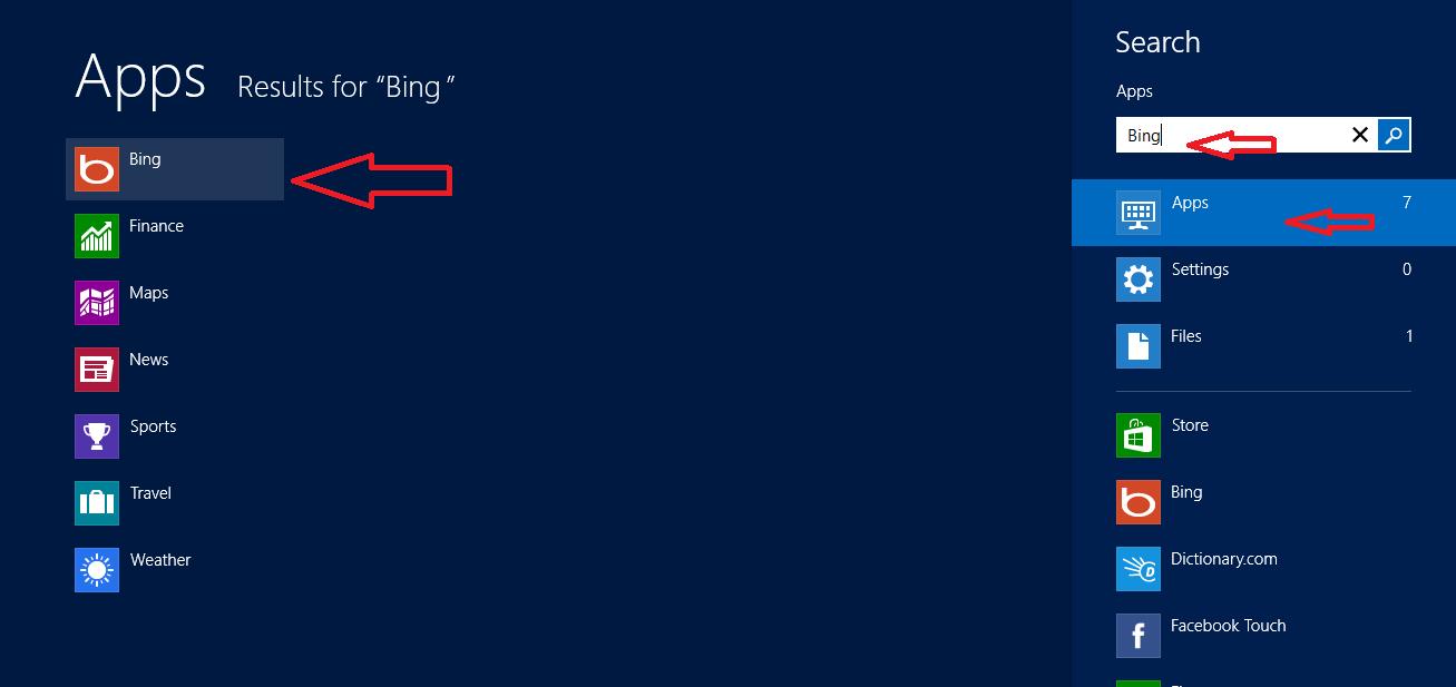 bing search in windows 8